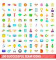 100 successful team icons set cartoon style
