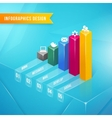 3d bar chart vector image