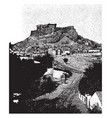 acropolis the site of the original settlement vector image vector image