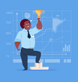 african american business man hold prize winner vector image vector image