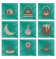 assembly flat shading style icons halloween bag vector image vector image