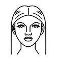 beautiful woman face line art vector image vector image