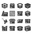 box package parcel delivery logistics icon set vector image