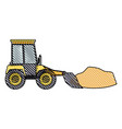 bulldozer with rocks on color crayon silhouette vector image