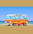 caravan trailer travelling bus coastline backdrop vector image vector image