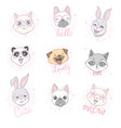 cartoon cute animals for bacard and invitation vector image vector image