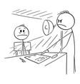 cartoon man in interrogating room forced vector image vector image