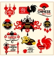 Chinese New Year badge label and stamp set vector image