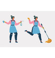 cleaners ready for cleaning with enthusiasm vector image