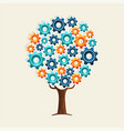 cog wheel tree concept for teamwork solution vector image
