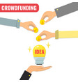 crowdfunding concept business model for start up vector image vector image
