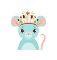 cute mouse animal wearing headdress with feathers vector image vector image