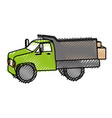drump truck with boxes isolated icon vector image