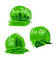 eco green life icon set for ecology design vector image vector image