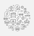 electric vehicle round line vector image