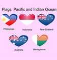 flags of oceania countries in original colors vector image