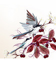 floral with birds and branches vector image vector image
