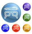 glasses and pen icons set vector image