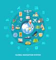 global navigation icons set vector image vector image