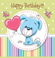 greeting card cute cartoon puppy vector image vector image