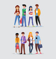 groups young teenagers friends from school vector image vector image