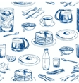 hand drawn breakfast seamless pattern vector image