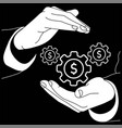 hands are holding a gear with money or a dollar vector image vector image