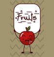 happy apple kawaii cartoon with fruits sign vector image