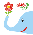 Happy birthday greeting card elephant vector image