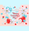 happy valentines day greeting card or banner with vector image vector image