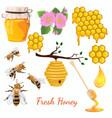 honey set set bee icons graphics vector image