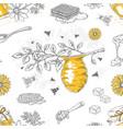 honey sketch pattern hand drawn honeycomb vector image vector image