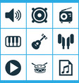 music icons set collection of barrel start vector image vector image