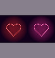 neon dot heart in red and pink color vector image