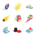 nooning icons set isometric style vector image vector image