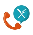 orange telephone food ordering delivery service vector image vector image
