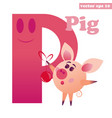 p letter with pig vector image