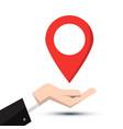 pin symbol pointer navigation icon in human hand vector image vector image