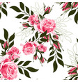 pink rose and simple leaves vector image vector image