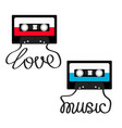 plastic audio tape cassette with tape word love vector image vector image