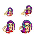 pop art avatar icons vector image
