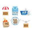 post mail service icons vector image