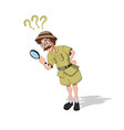 professor with loupe in cartoon style vector image vector image