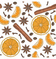 seamless pattern citrus spices and coffee beans vector image