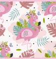 seamless pattern with beautiful pink flamingo vector image vector image
