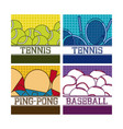 sport balls on colorful squares vector image vector image