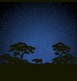 starry night scene african landscape vector image