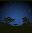 starry night scene african landscape with vector image