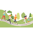 young men and women running and jogging in park vector image vector image