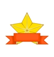 Gold star award with ribbon icon cartoon style vector image